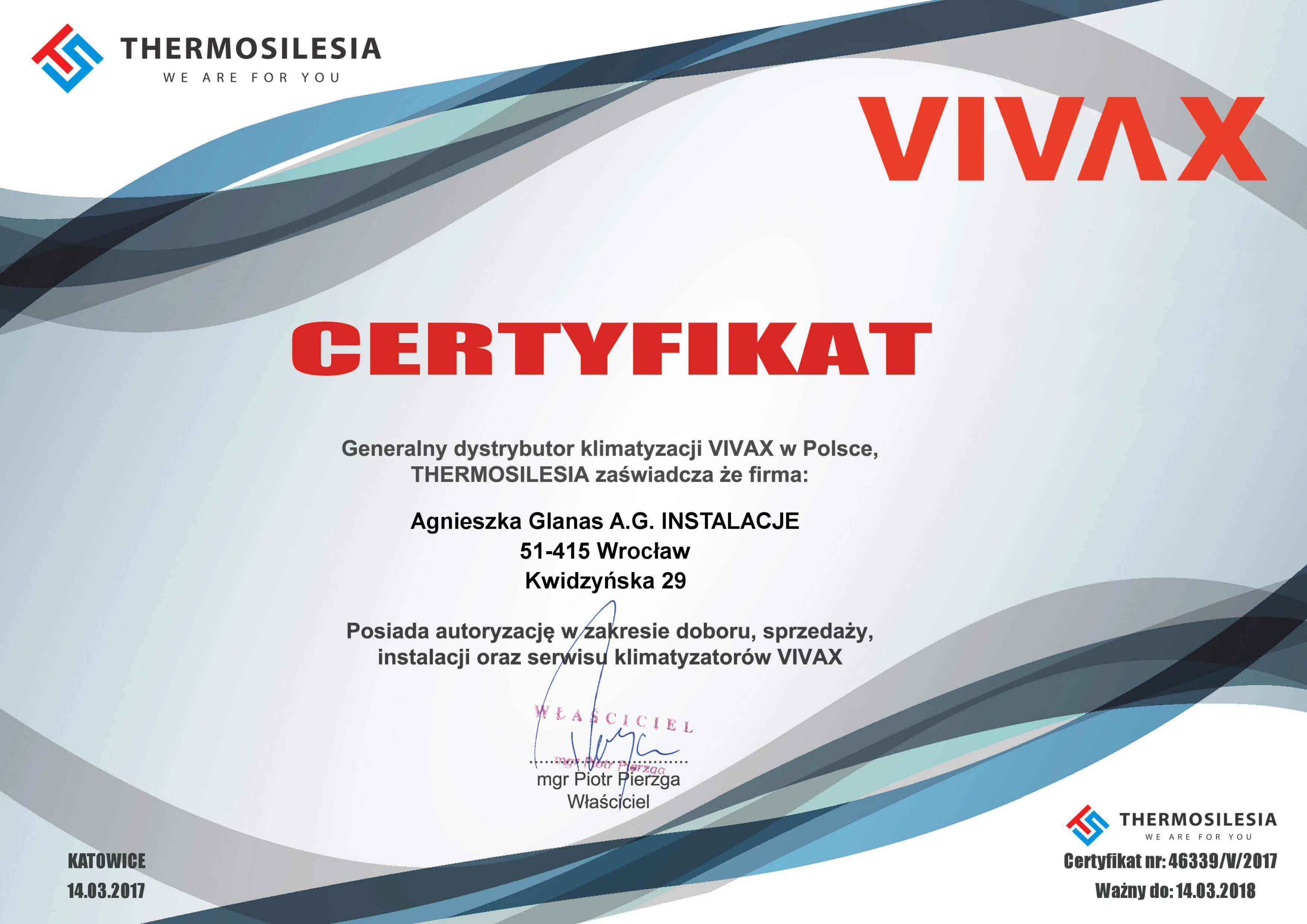 Certyfikat Vivax