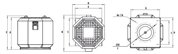 wymiary wentylator dachowy harmann ROOFTEC S